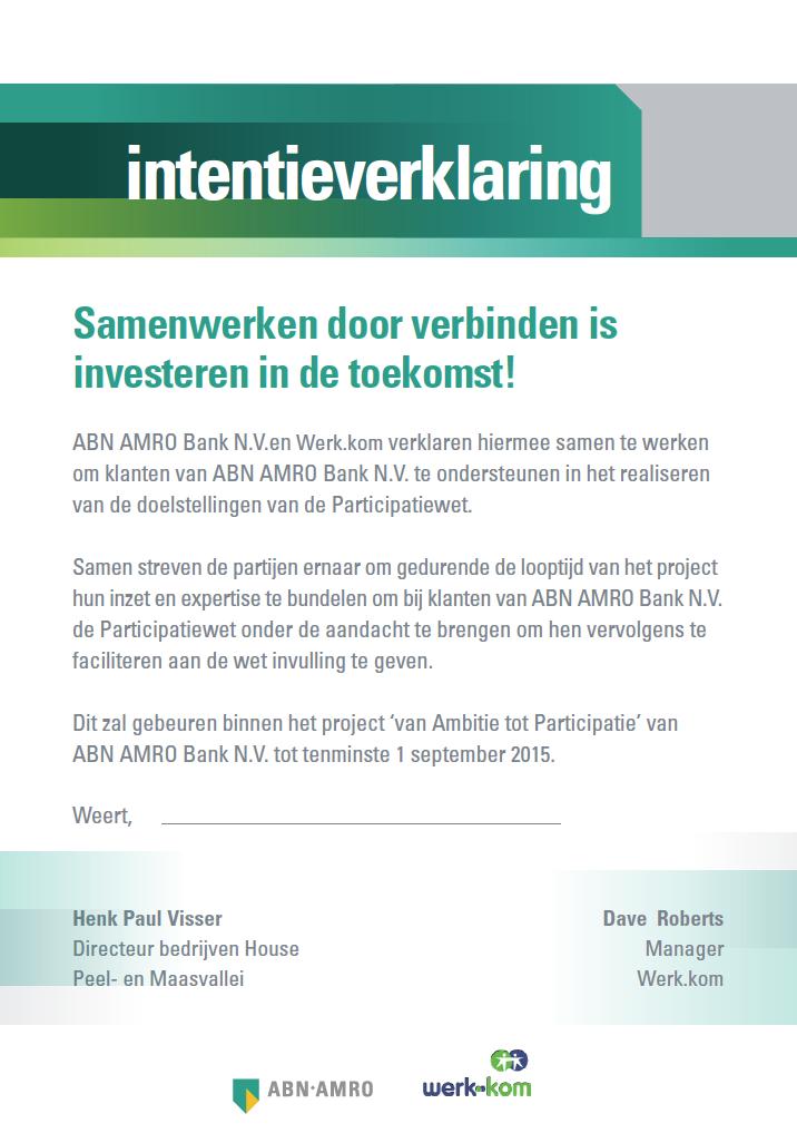 Werk.Kom en ABN AMRO ondertekenen intentieverklaring! | Werk.Kom